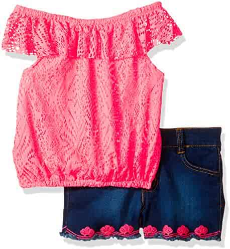 Limited Too Girls' 2 Piece Peasant Top and Lace Trimmed Denim Short