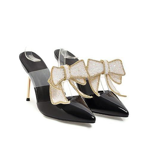 LSM-Sandales MEI&S Women's Peep Toe Stiletto Heels,Black,36