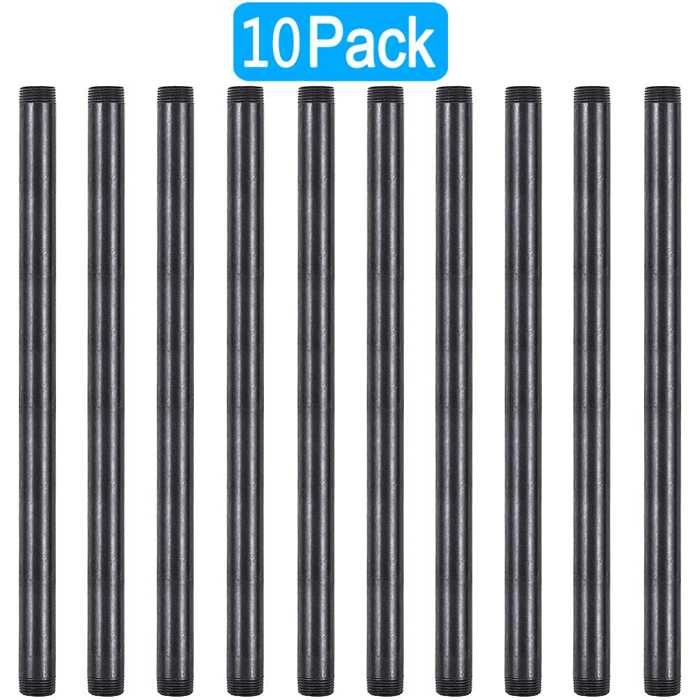 GOOVI 1/2 Inches x 16 Inches Black Malleable Steel Pipe Fitting, 1/2 Inches Black Pipe Threaded Pipe Nipples, Build Vintage DIY Shelving Steampunk Furnitur, 10 Pack. by GOOVI (Image #1)