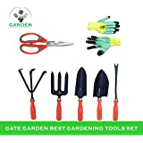 Kraft Seeds Gate Garden! Top 5 Spectacular Gardening Tools Set with Heavy Gardening Scissor and One Pair Hand Gloves for Your Softs Hands