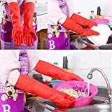(L)Lady Flexible Comfortable Rubber Clean Gloves Red Dish Washing Long Gloves