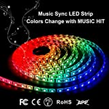 Led Strip Lights IP65 Waterproof LED Strip Light 16.4FT Music Strobe Light Bedroom String Lights Car LED Strip Light 300 Units 5050 RGB Strip Lights by DotStone