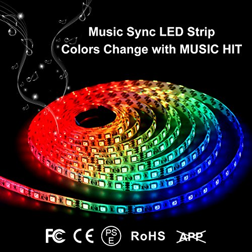 Music led strip lights 6 6ft rgb light color changing Cool things to do with led strips