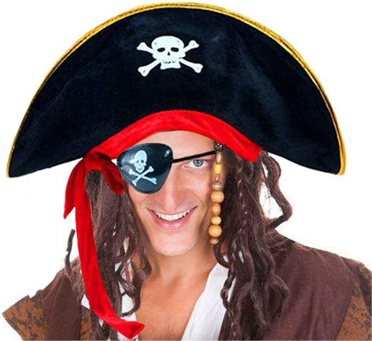 PIRATE HAT EYE PATCH EARRING COSTUME Adult Tricorne Felt Hat Buccaneer