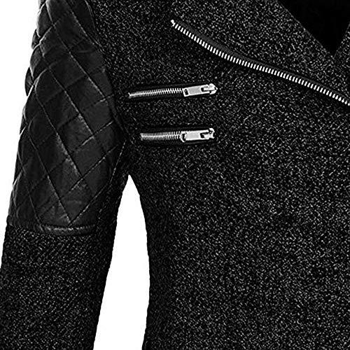 Femmes Jacket Noir Fluffy Rovinci Elegant Patchwork Manteau Artificielle Mode Chaud Trench À Chandail Laine Zipper Blouson Veste Épais Outwear Capuche Femme Parka Sweat Hiver Pardessus Slim q66Bt4w