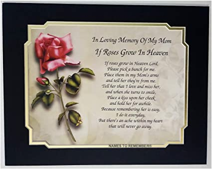 In Memory Of Mom If Roses Grow In Heaven Memorial Poem For Loss Of Mother With Roses Are Red Background