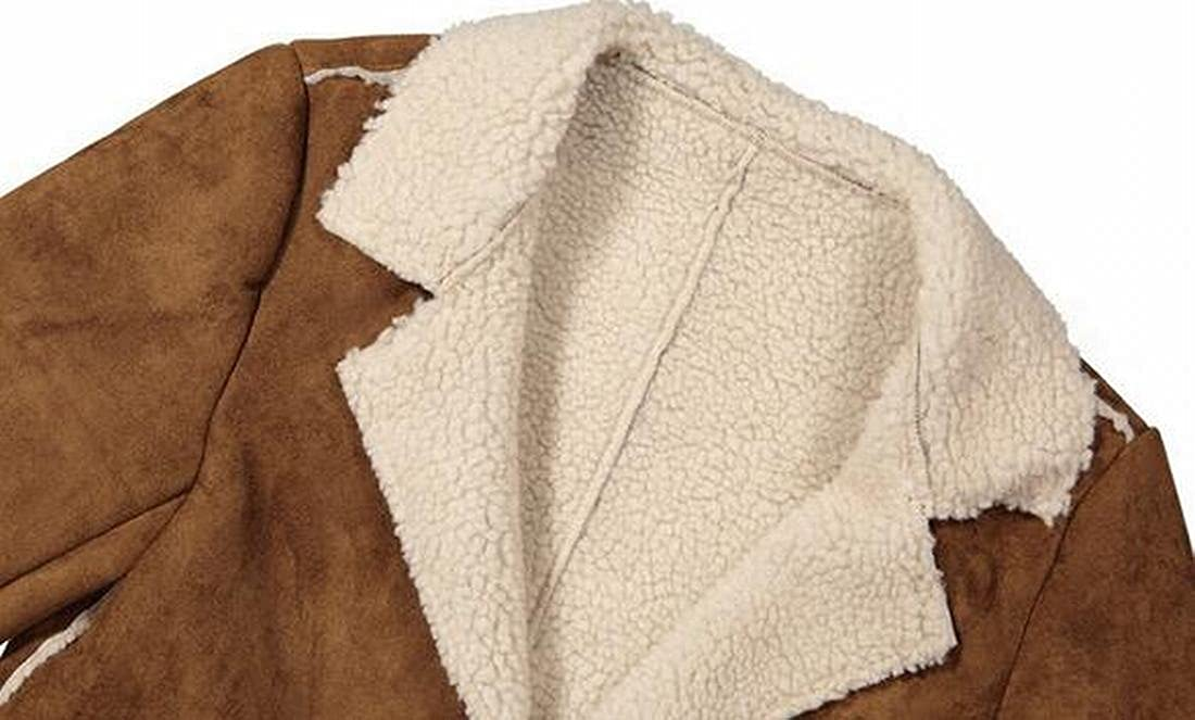 FLCH+YIGE Men Suede Lapel Long Sleeve Lamb Wool Warm Quilted Jacket