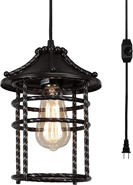 Amazon Com Creatgeek Vintage Pendant Light With 16 Plug In Cord And On Off Dimmer Switch Industrial Oil Rubbed Hanging Light Fixture Swag Ceiling Chandelier Lamp For Bedroom Kitchen Porch Home Improvement