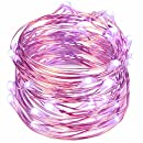 String Lights,Oak Leaf 2 Set of Purple Micro 30 Leds Romantic Rope Lights Battery Operated on 9.8 Ft Long Ultra Thin String Copper with CR2032 Battery For Home Bedroom Party