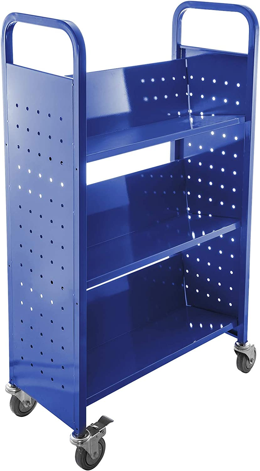 BestEquip Book Cart 200LBS Library Cart 30x14x45 Inch Rolling Book Cart Single Sided V-Shaped Sloped Shelves with 4 Inch Lockable Wheels for Home Shelves Office and School Book Truck in Blue