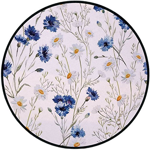 Printing Round Rug,Watercolor Flower,Wildflowers and Cornflowers Daisies Blooms Flower Buds Mat Non-Slip Soft Entrance Mat Door Floor Rug Area Rug For Chair Living Room,Blue Sage Green Marigold