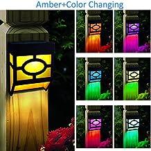 Kanstar Solar Powered Color Changing Mount Light Outdoor Landscape Garden Yard Fence Amber (pack 4)