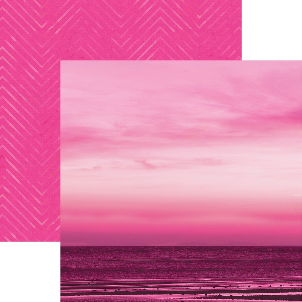 Pack of 15 Paper House Productions P-3085E Flamingo Palm Trees Papers 12-Inch Colorways double Sided