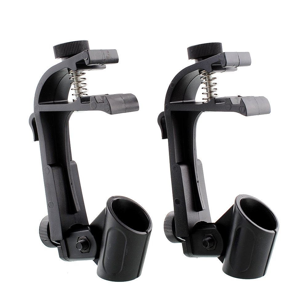 Forfar 1Pair of 2PCS Adjustable Drum Clips Microphone Rim Mount Clamp Black FF-55239