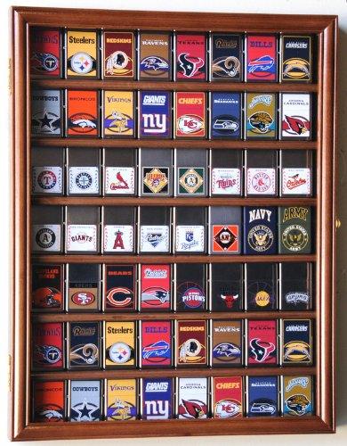 56 Zippo Lighter Display Case Cabinet Holder Wall Rack -Walnut