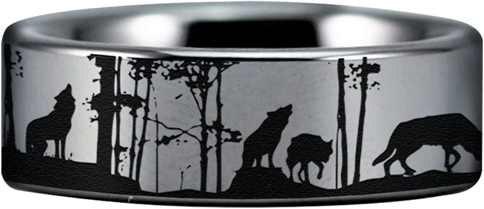 Friends of Irony Silver Tungsten Carbide Wolf Skull and Arrows Ring 8mm Wedding Band and Anniversary Ring Fit for Men and Women Size 11.5