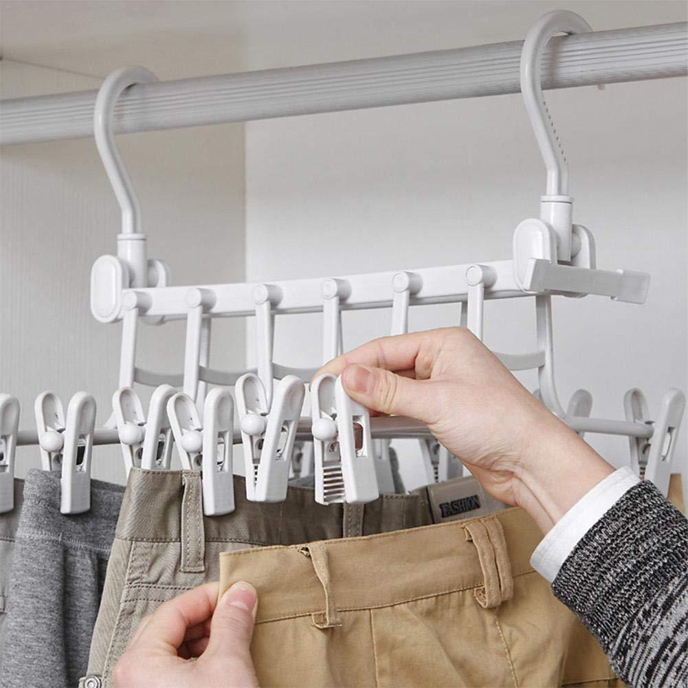 Depory Perchas Organizadoras para Pantalones con Perchero Plegable Doble Gancho a Prueba de Viento Ahorro de Espacio Antideslizantes 12 Clips