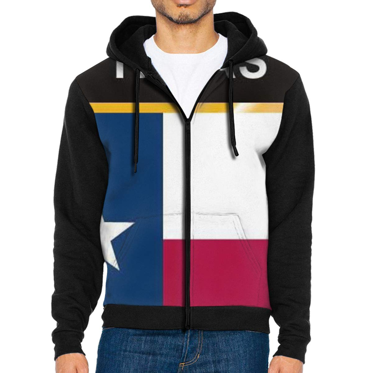 Texas Flag Crest Mens Full-Zip Up Hoodie Jacket Pullover Sweatshirt