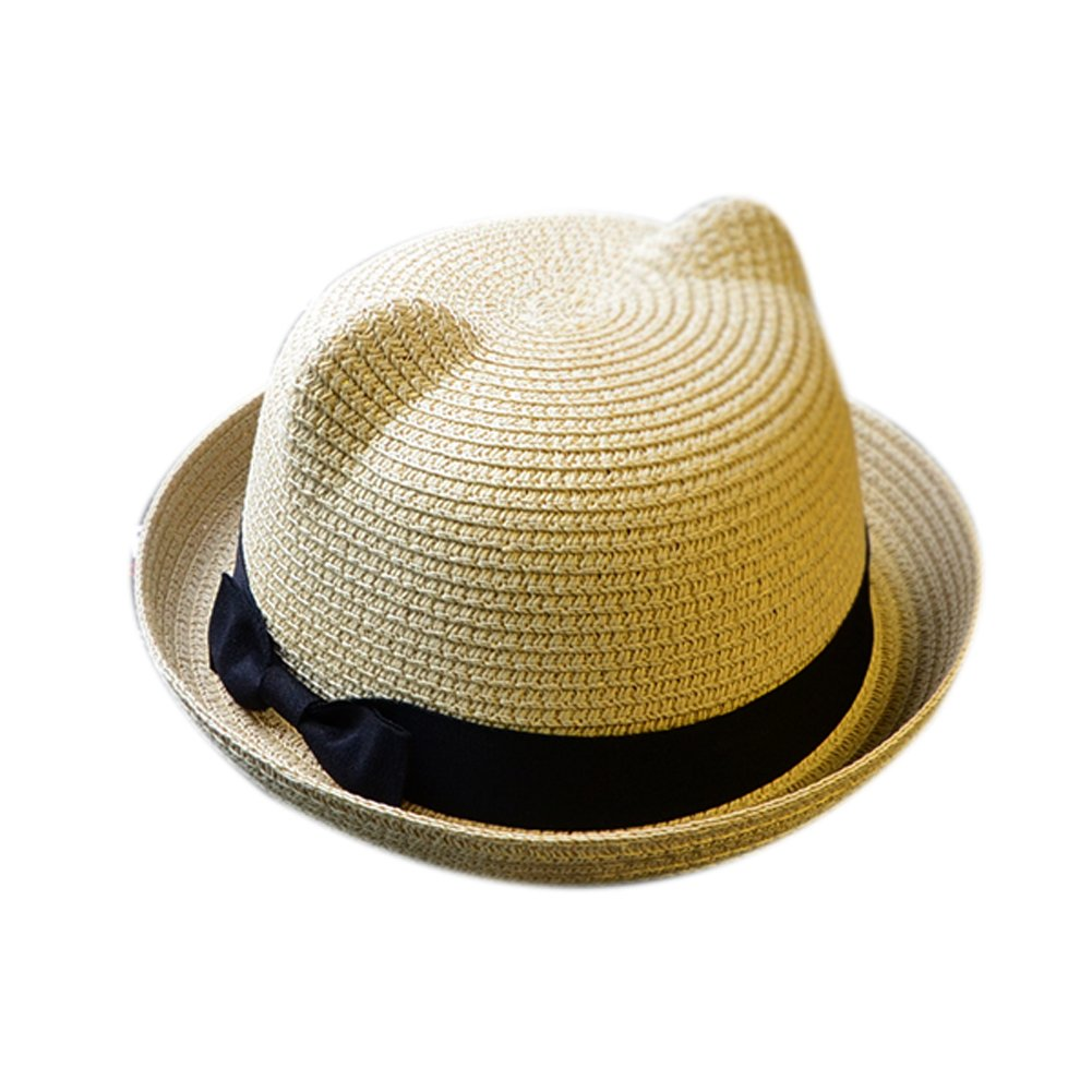 Skyingfly Summer Spring Women Lady straw cat ears shade sun hat Beach Hat (Beige)