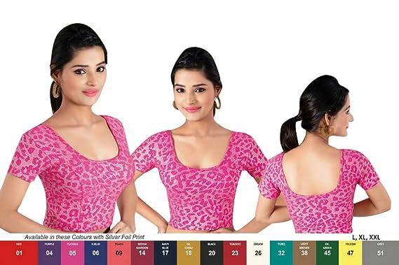9847b06935a56a Amazon.com  Pink Printed Stretchable Lycra Cotton Ready-made Saree Blouse  Sari Choli Crop SHRI BALAJI SILK (L