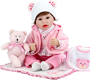 Aori Reborn Baby Doll 22 Inch Lifelike Real Baby Doll Weighted Baby Girl with Pink Teddy Gift Set