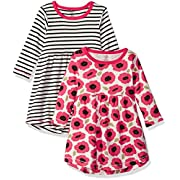 Touched by Nature Baby Girls 2-Pack Organic Cotton Dress, Poppy Stripe, 3-6 Months