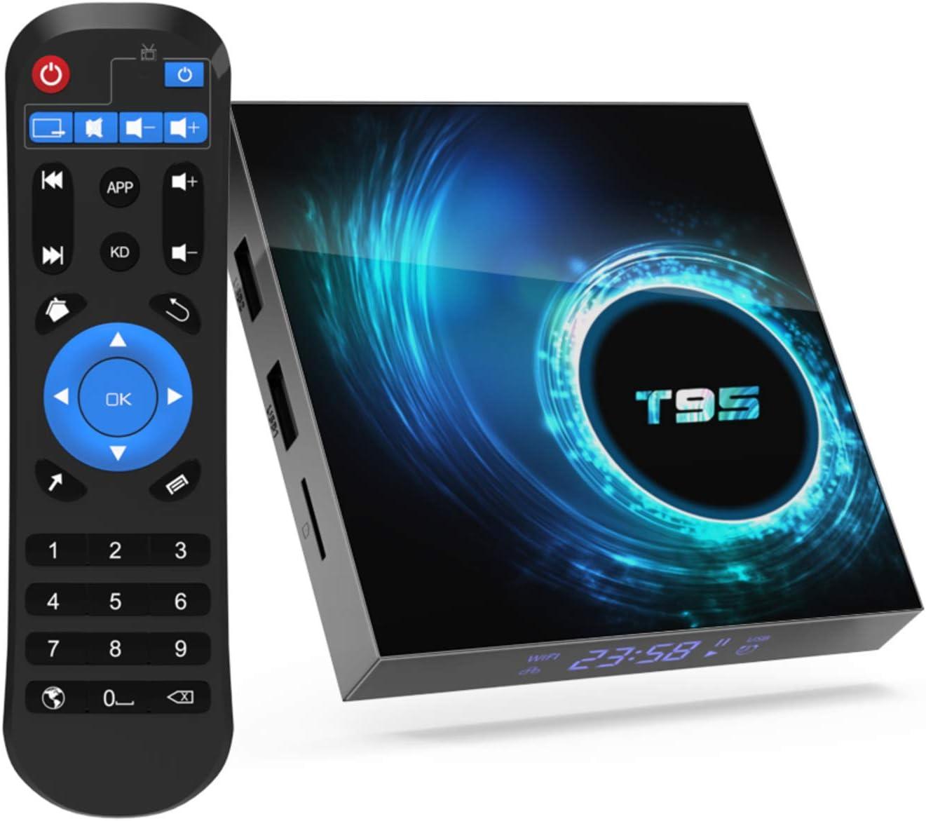 T95 Android 10.0 TV Box, Android Box 4GB RAM 64GB ROM Allwinner H616 Quad core 64-bit, Support 6K HD/ 3D/ H.265 Ethernet 2.4/5G Dual WiFi Bluetooth 5.0