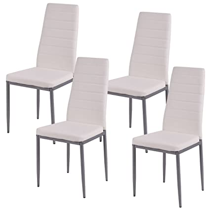 Amazon.com : COSTWAY Elegant Design PU Leather Dining Side Chairs ...