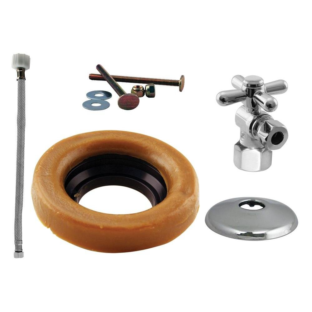 Westbrass 1/2'' IPS Cross Handle Angle Stop Toilet Installation Kit with Steel Supply Line, Polished Chrome, D1613TBX-26