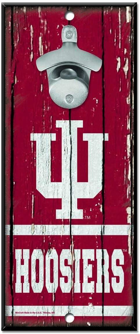 "WinCraft NCAA Indiana Hoosiers 5x11 Wood Sign Bottle Opener, Team Colors, 5""x11"""