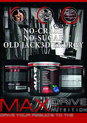 Alive HyperDrive Sports Nutrition Pre-Workout Supplement 60 Servings - Sustained Energy - Craze preworkout - Focus & Nitric Oxide Booster - Blue Raspberry Flavor