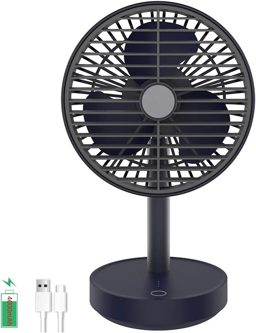Eraindo 2nd Battery Operated Fan Rechargeable Desk Fans 4000mah 4 Speeds 5-Blade Design Extra Quiet Strong Wind USB Battery Powered for Bed Office Outdoor Travel Personal Desk Fan (Automatic Shaking)