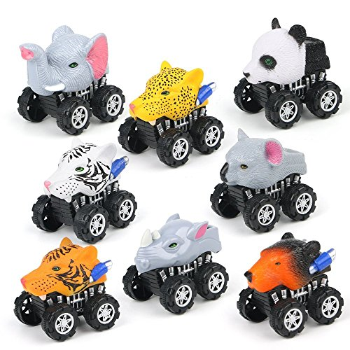 Animal Toys Cars,8 Pack Pull Back Vehicles with Big Tire Wheel,Party Favors/Preschool Learning Toys/Creative Gifts for Toddlers Kids Boys Girls