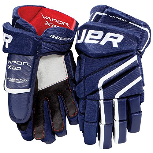 Bauer Vapor X80 Senior Hockey Gloves, 15 Inch, Navy/Red/White