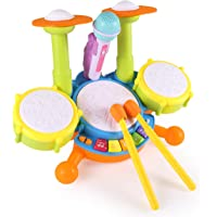 Toyshine Kids Drum Set, Drum Set for Kids Electric Toys Toddler Musical Instruments Playset Flash Light Toy with Adjustable Microphone, Toys for Boys and Girls