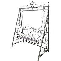 Garden Swing Bench Steel Metal Outdoor Furniture 158x90x228cm
