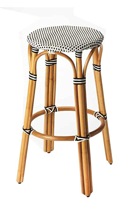 Pleasing Amazon Com Offex Round Rattan Backless Bar Stool Black Andrewgaddart Wooden Chair Designs For Living Room Andrewgaddartcom