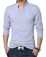 TOOGOO(R) Gray Spring Autumn Shirts Solid Color Shirt Long Sleeve Mandarin Collar V-neck Slim Man Shirt 2XL