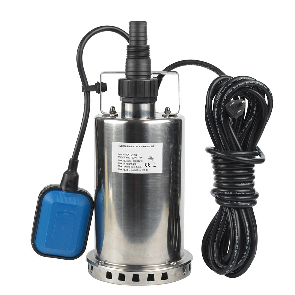 EXTRAUP 1HP 3000 GPH Stainless Steel Submersible Clean Water Transfer Pump Pool Pond Flood Sump Pump by EXTRAUP