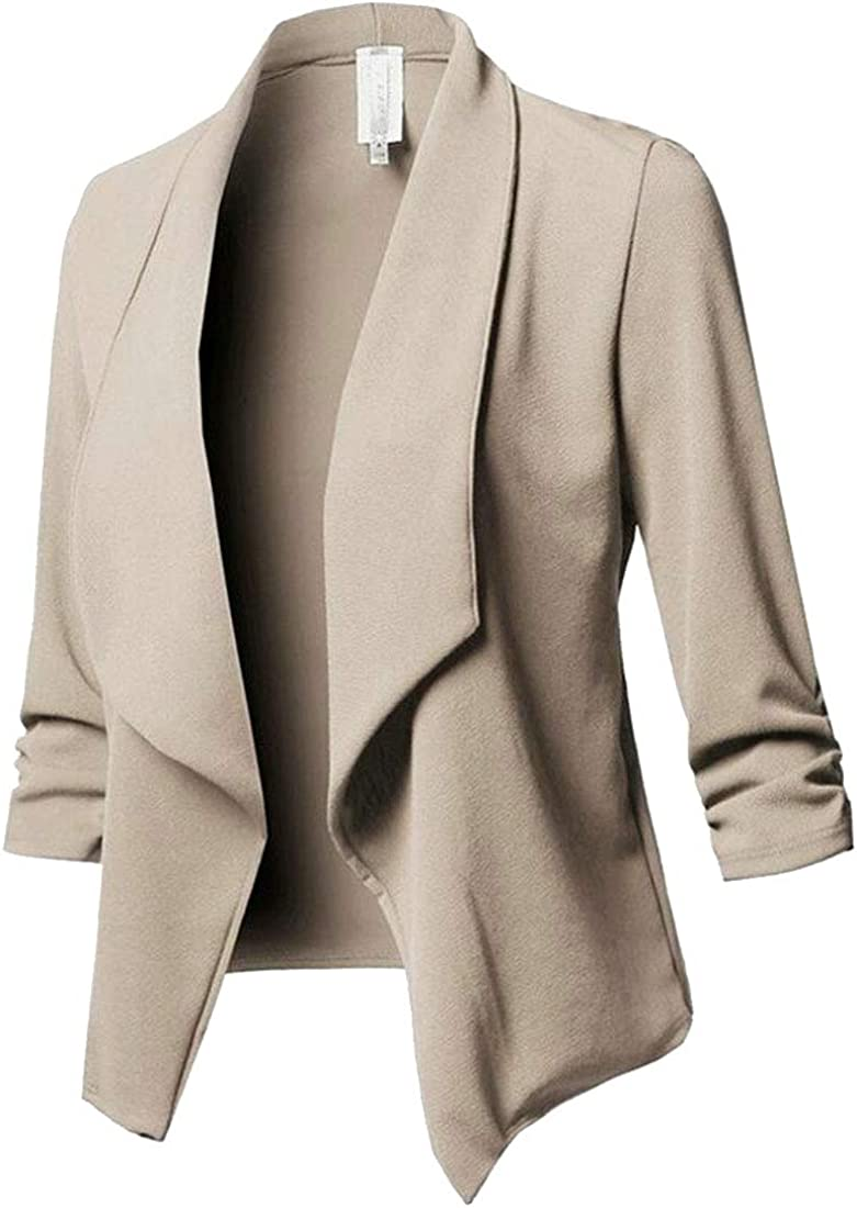 FRPE Women Open Front Solid Long Sleeve Outerwear Lapel Blazer Jacket