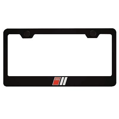 Fit Audi Sport Logo Matt Black Liecnese Plate Frame with Caps: Automotive