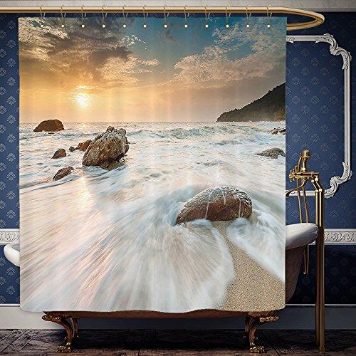 Wanranhome Custom-made shower curtain Seaside Decor Set Grand Sea Waves on the Beach and Horizon Sky Holiday Calm Dream Light Season Photo Cream Blue White For Bathroom Decoration 72 x 108 inches