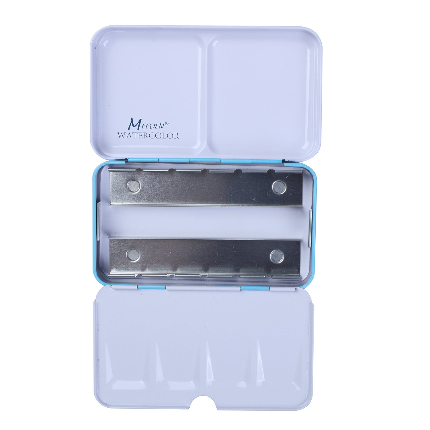 MEEDEN Empty Watercolor Tins Box Palette Paint Case Will Hold 24 Half Pans or 12 Full Pans Medium Blue Tin