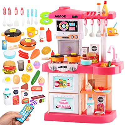 JAMOR Kitchen Toy Set Simulation Kitchen Simulated Cooking Rice Cooking Simulator Kitchenware Steam Spray Safety Material (Pink): Office Products