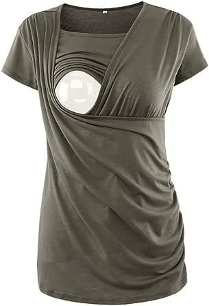 Jinson Women's Ruched Side-Shirred Nursing Top Short Long Sleeve Breastfeeding Tee Shirt