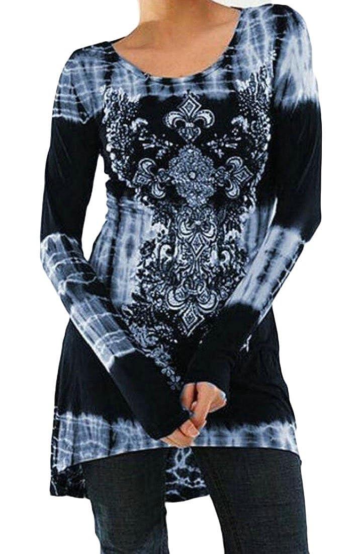 JXG Women's Plus Size Round Neck Print Long Sleeve T-Shirt Tops