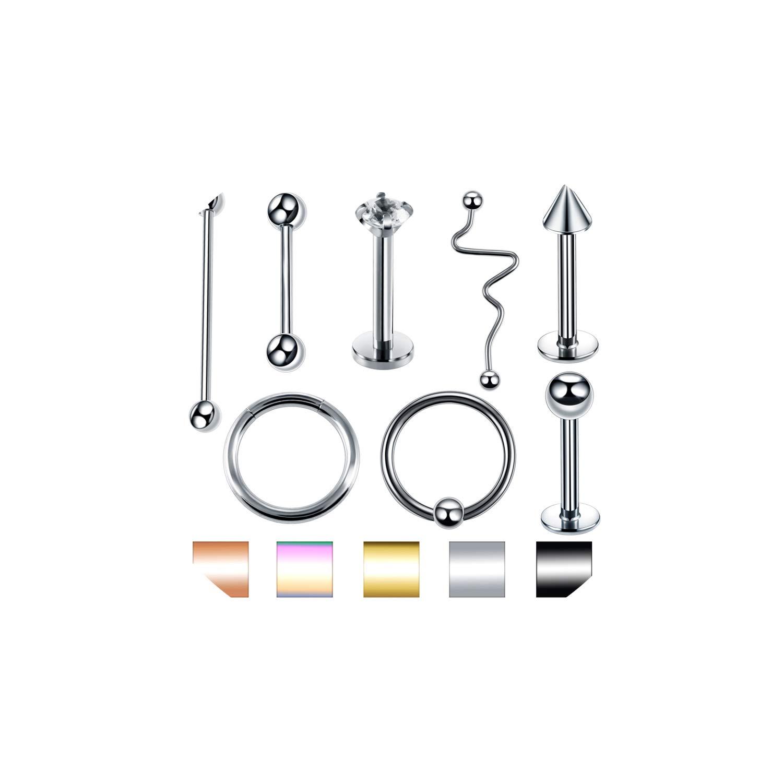 1Pc Steel Ear Stud Segment Rings Nose Hoop Ear Septum Piercings Cartilage Lip,Style3,Black