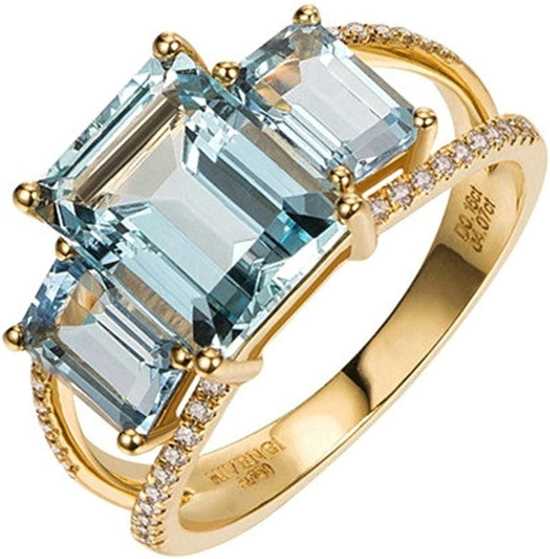 Daesar Anillo de Mujer Oro Azul Claro Anillos de Oro Amarillo 18 Kilates Rectángulo Aguamarina Azul Claro 3.2ct Diamante 0.16ct