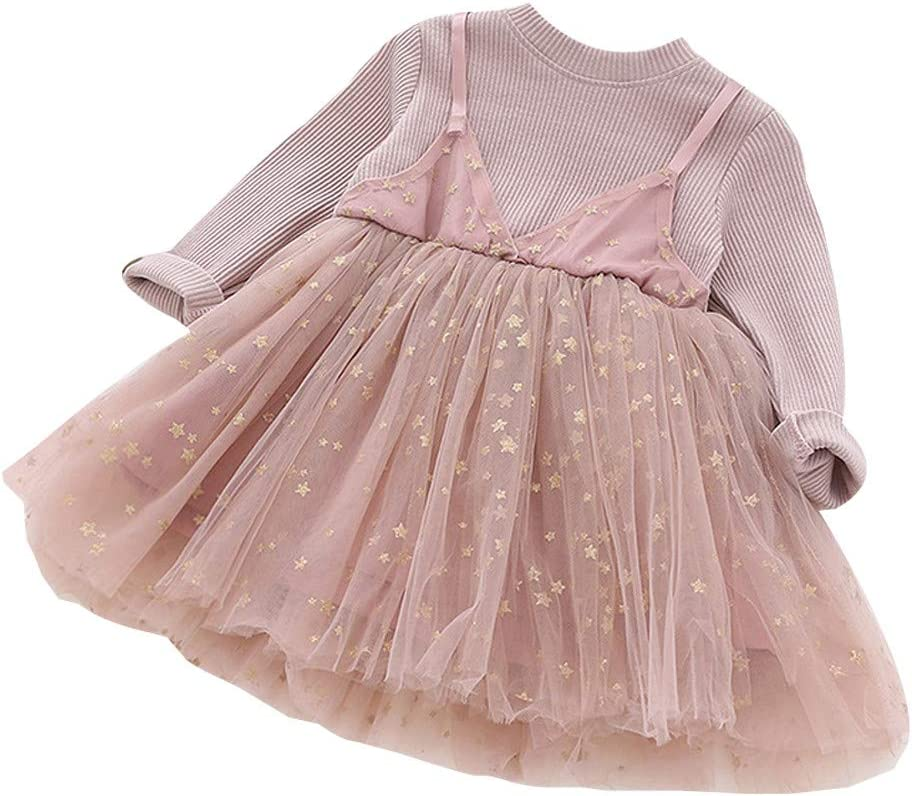 Hstore Toddler Kids Baby Girls Ruffle Solid Linen Elegant Princess Party Dress Clothes