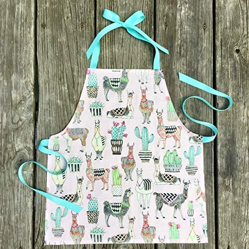 Toddler Girl Pink Lovely Llama Art Kitchen Craft Gift Apron from Sara Sews